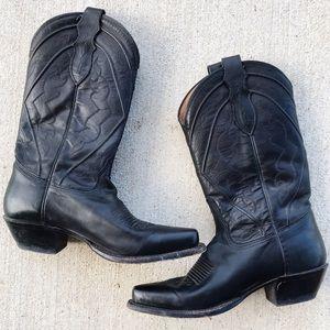 Solid black vintage Tony Lama cowboy boots